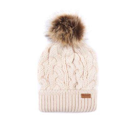Barbour Penshaw Cable Beanie Hat Blush Pink