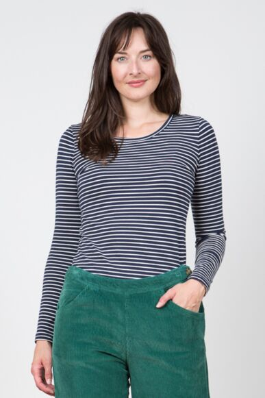 Lily and Me Layering Tee Stripe Navy/Ecru