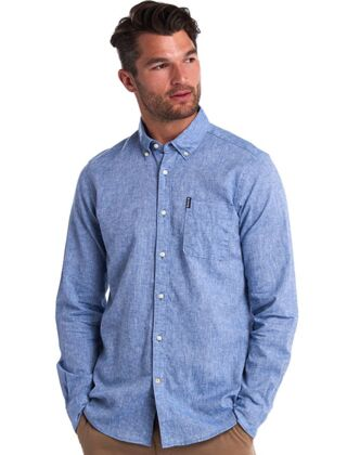 Barbour Linen Mix 1 Tailored Shirt Blue