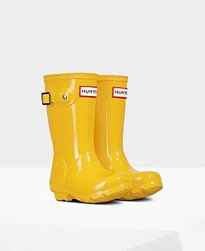 Hunter Little Kids Gloss Wellies Yellow