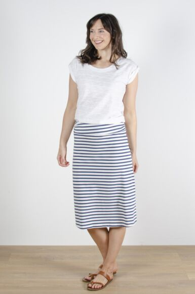 Lily and Me Surf Beach Midi Skirt Cornish Stripe Navy