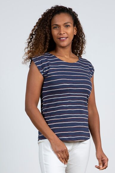 Lily and Me Surfside T-Shirt Painterly Navy Stripe