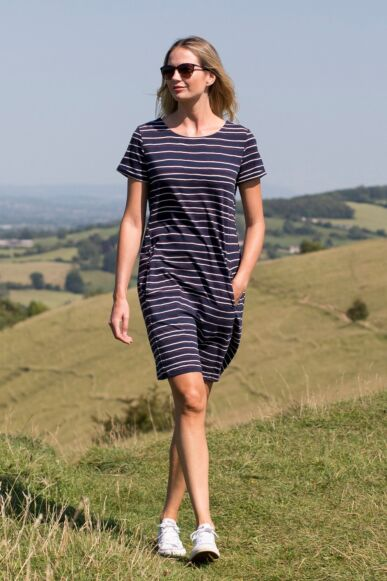 Lily and Me Heather Dress Painterly Navy Stripe