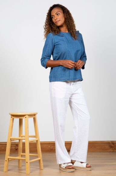 Lily and Me Relaxed Everyday Trousers Plain White