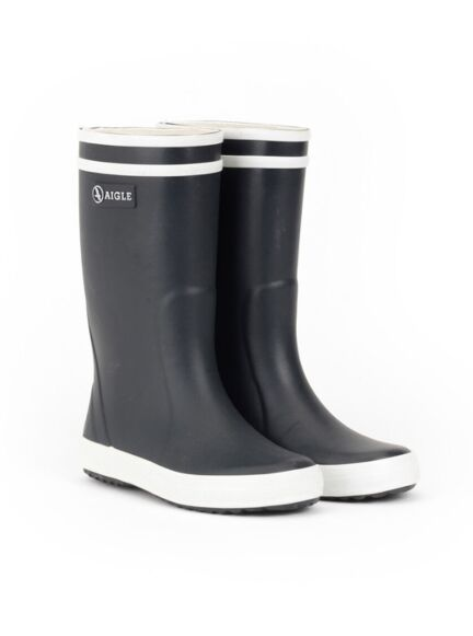 Aigle Lolly Pop Children's Wellington Boots Marine/Blanc