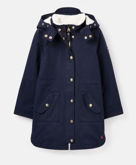 Joules Loxley Cosy Longline Coat French Navy