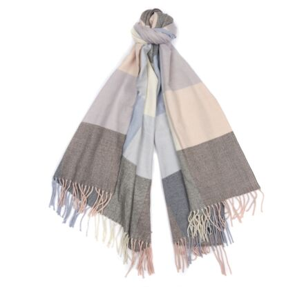 Barbour Pastel Check Scarf Blue Pink Grey
