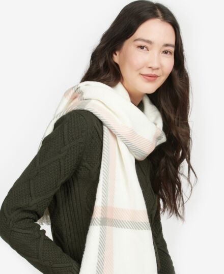 Barbour Hedley Windowpane Scarf Cloud/Pink