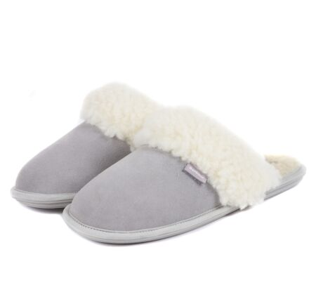 Barbour Lydia Mule Slippers Grey Suede