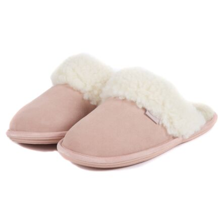 Barbour Lydia Mule Slippers Pink Suede