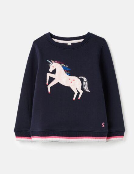 Joules Mackenzie Artwork Sweatshirt Navy Unicorn