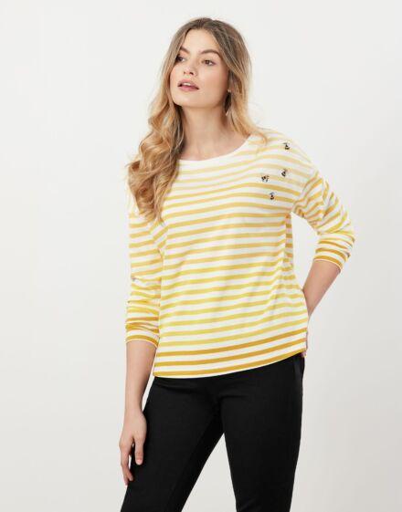 Joules Marina Embellished Jersey Top Yellow Stripe