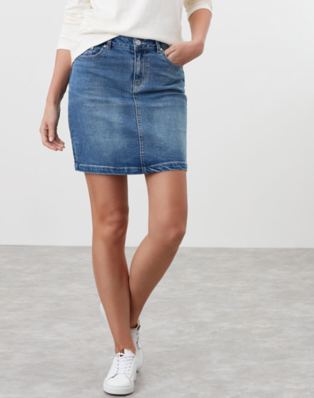 Joules Marnie Denim Skirt Light Denim