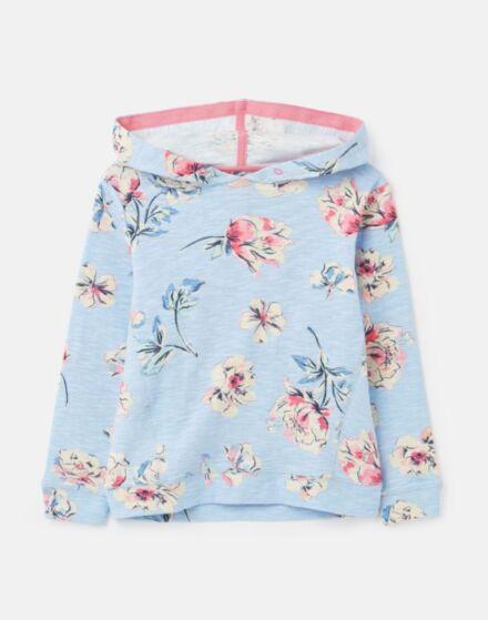 Joules Marlston Print Hooded Sweatshirt Blue Floral