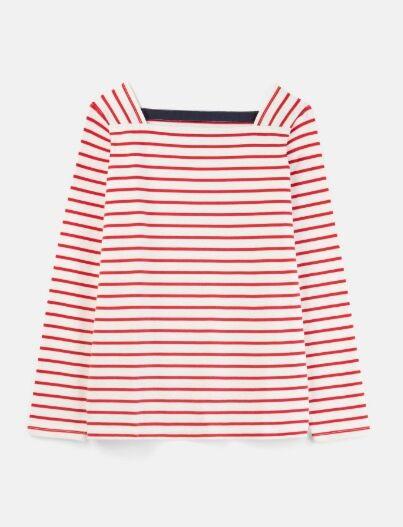 Joules Matilde Square Neck Jersey Top Cream Red Stripe