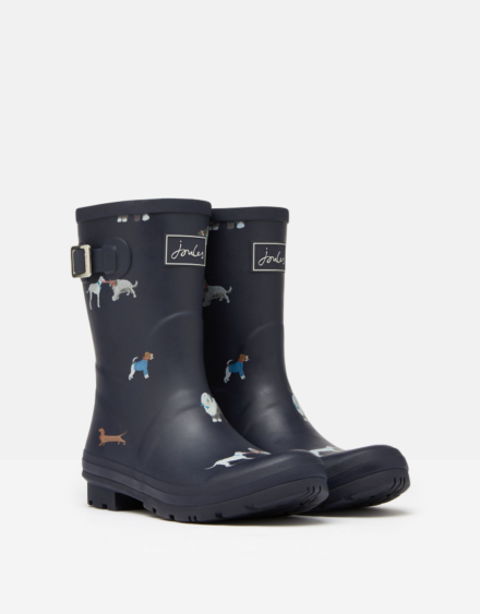 Joules Molly Mid Height Printed Wellies Mayday Dogs