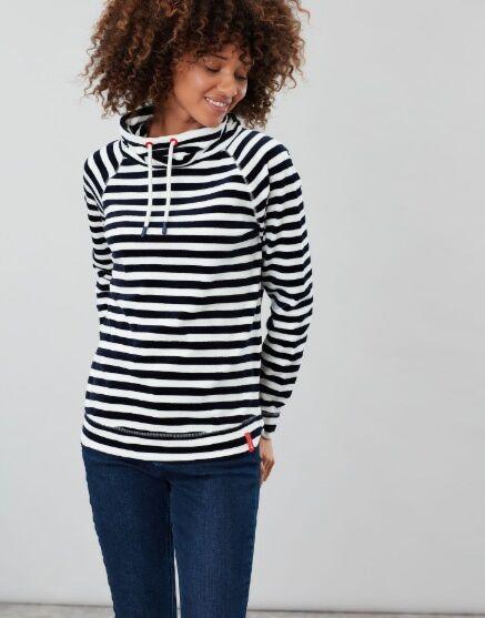 Joules Mayston Funnel Neck Light Sweatshirt Cream Navy Stripe