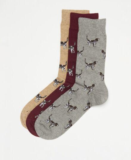 Barbour Pointer Dog Socks Gift Box Winter Red