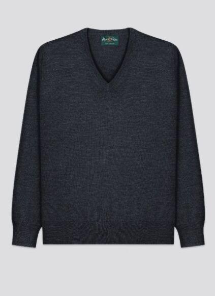 *AW20-Images& Descrips* Alan Paine Mens Milbrook Wool V-Neck Jumper Charcoal