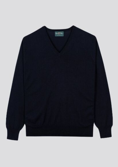 Alan Paine Mens Milbrook Wool V-Neck Jumper Dark Navy