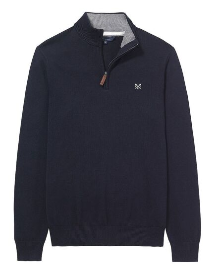 Crew Clothing Men's Classic 1/2 Zip Knit Jumper Navy