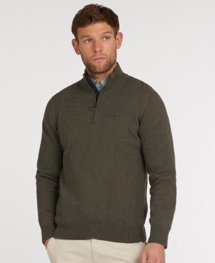 Barbour Cotton Half Zip Sweater Olive Marl