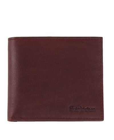 Barbour Wax/Leather Billfold Wallet Dark Brown