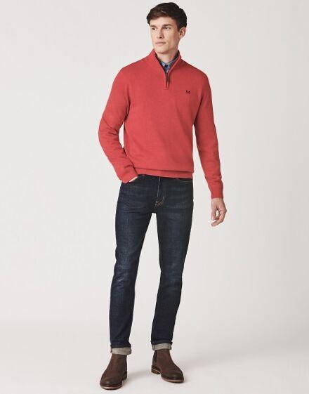 Crew Clothing Men's Classic ½ Zip Knit Crimson Marl