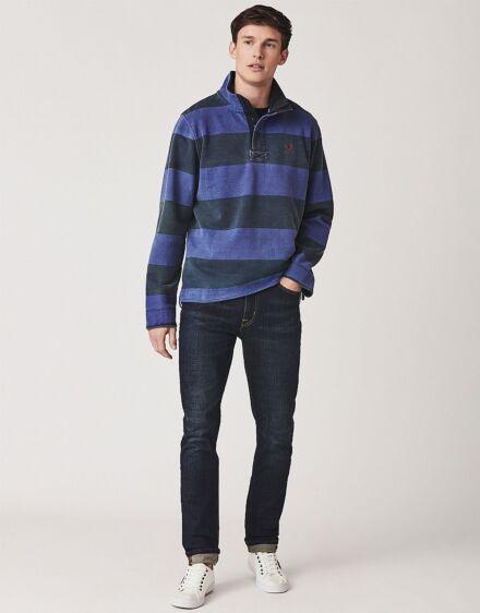 Crew Clothing Padstow Pique Sweatshirt Ink Cobalt Blue