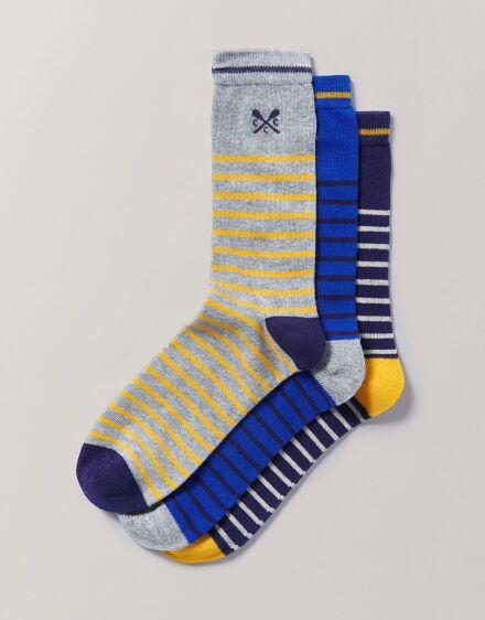 Crew Clothing Men's 3 Pack Bamboo Socks Blue Yellow Stripe