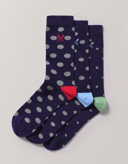 Crew Clothing Men's 3 Pack Bamboo Socks Polka Dot Blue