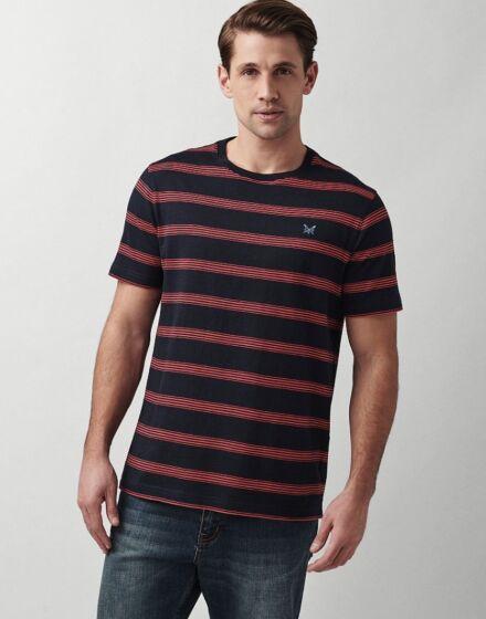 Crew Clothing Orford Slub Tee Navy/Red