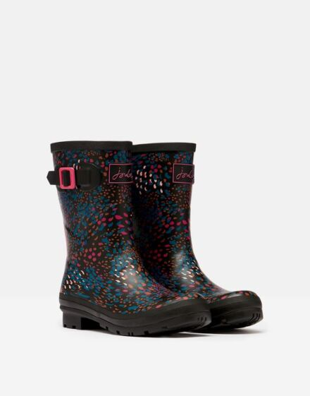 Joules Molly Mid Height Printed Wellies Black Speckle