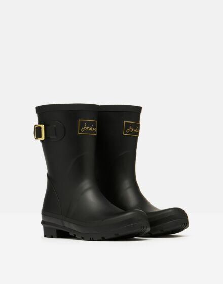 Joules Molly Mid Height Printed Wellies Gold Etched Bees