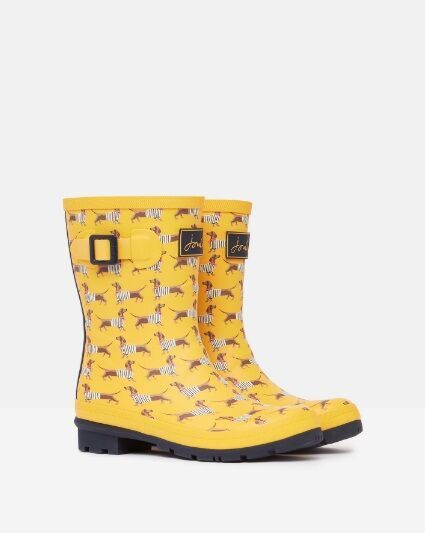 Joules Molly Mid Height Printed Wellies Yellow Sausage Dog