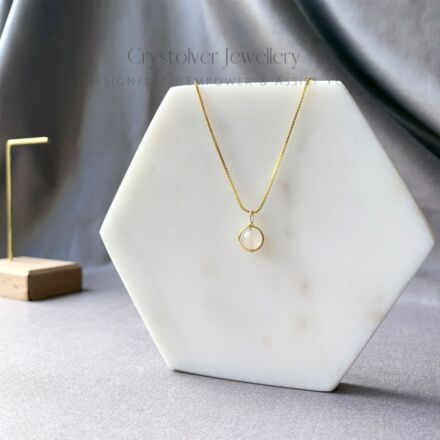 Crystolver Moonstone Dainty Gold Necklace