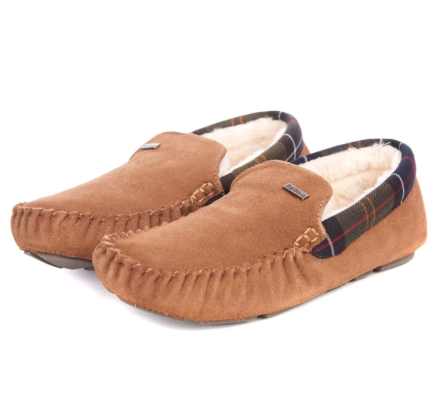 Barbour Mens Monty Moccasin Slippers Camel Suede