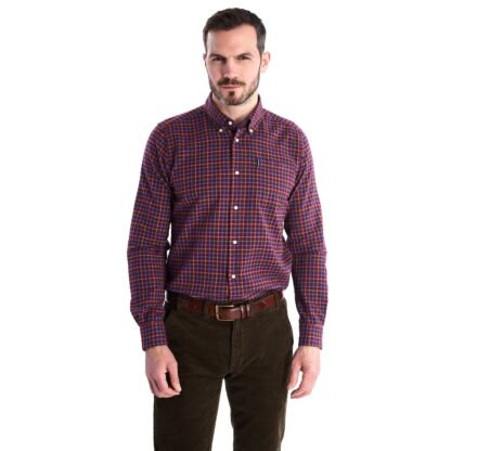Barbour Tattersall 7 Tailored Fit Shirt Burgundy