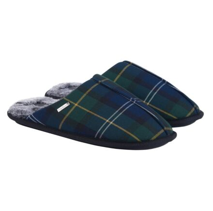 Barbour Young Slippers Recycled Seaweed Tartan