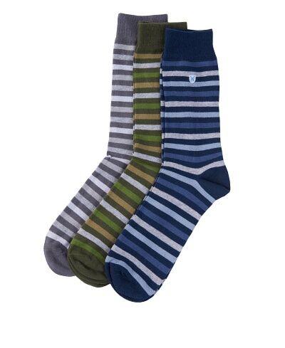 Barbour Stripe Socks 3pk Mixed