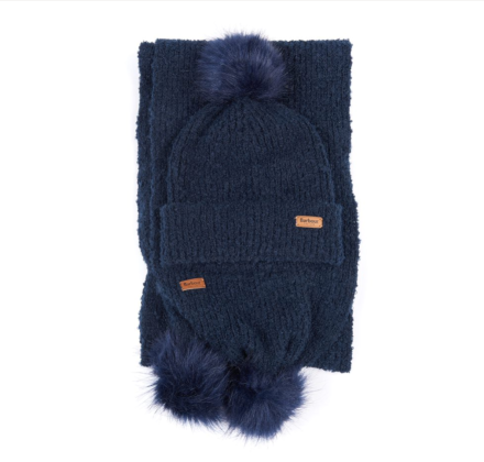 Barbour Boucle Beanie & Scarf Set Navy