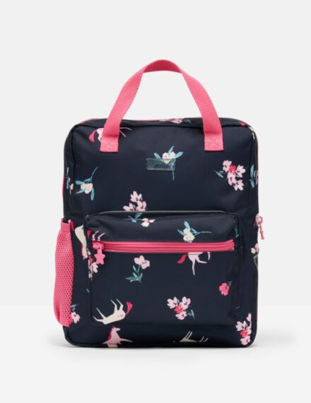 Joules Easton Backpack Navy Unicorn Floral