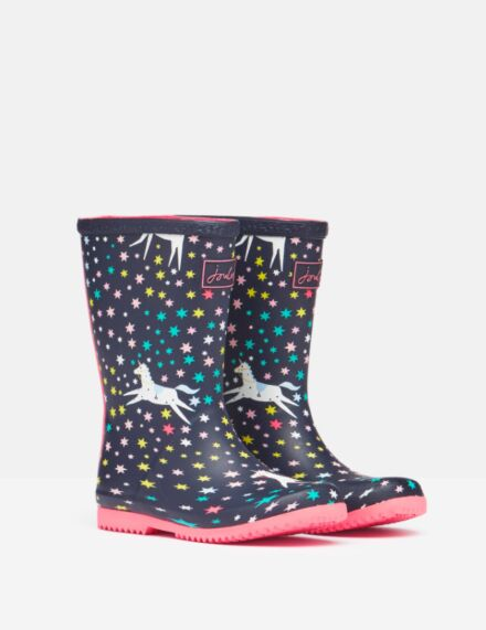 Joules JNR Flexible Printed Roll Up Wellies Navy Unicorn