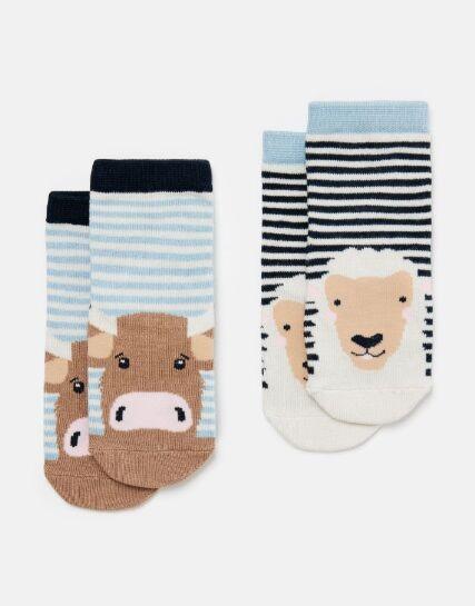Joules Neat Feet Character Socks Multi Cow Stripe