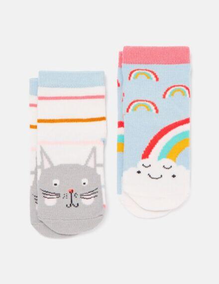 Joules Neat Feet Character Socks Cat Rainbow