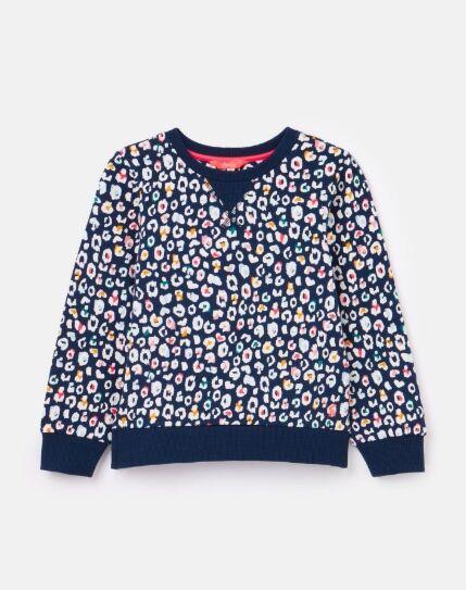Joules Nellie Printed Sweatshirt Navy Leopard