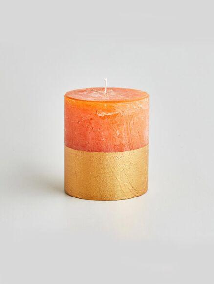 St Eval Orange & Cinnamon Gold Half-Dipped Pillar Candle