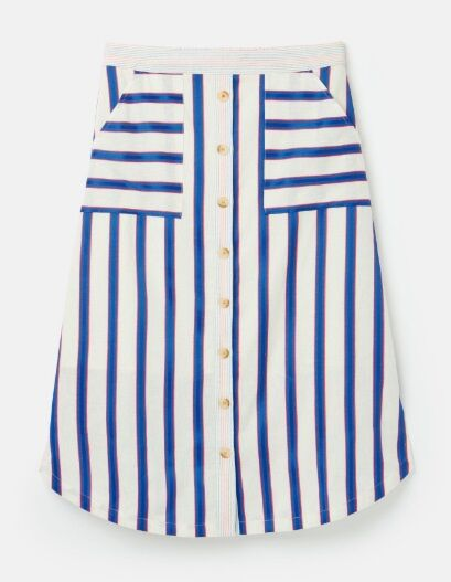 Joules Orielle Woven Skirt with Patch Pockets White Blue Stripe