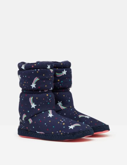 Joules Padabout Fleece Lined Slippersocks Navy Shooting Star