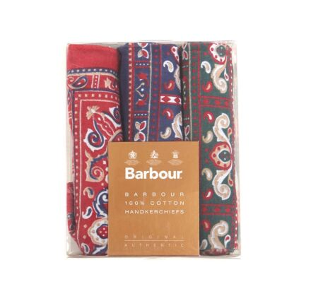 Barbour Paisley Handkerchiefs Boxed Set Red/Green/Navy